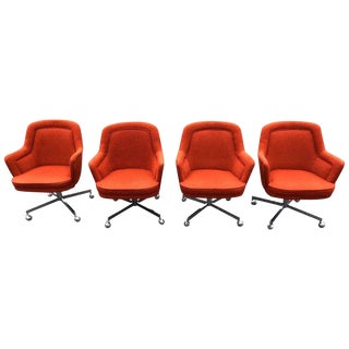 Max Pearson for Knoll Style Burnt Orange Swivel Chairs - Set of 4 For Sale