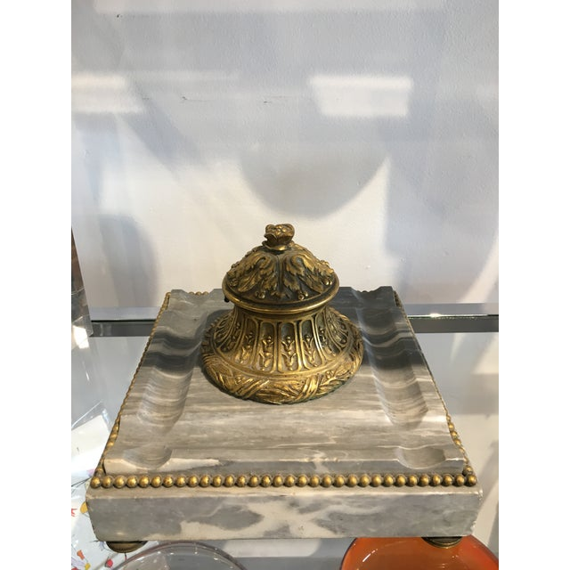 Antique Italian Onyx and Brass Inkwell - Image 2 of 6
