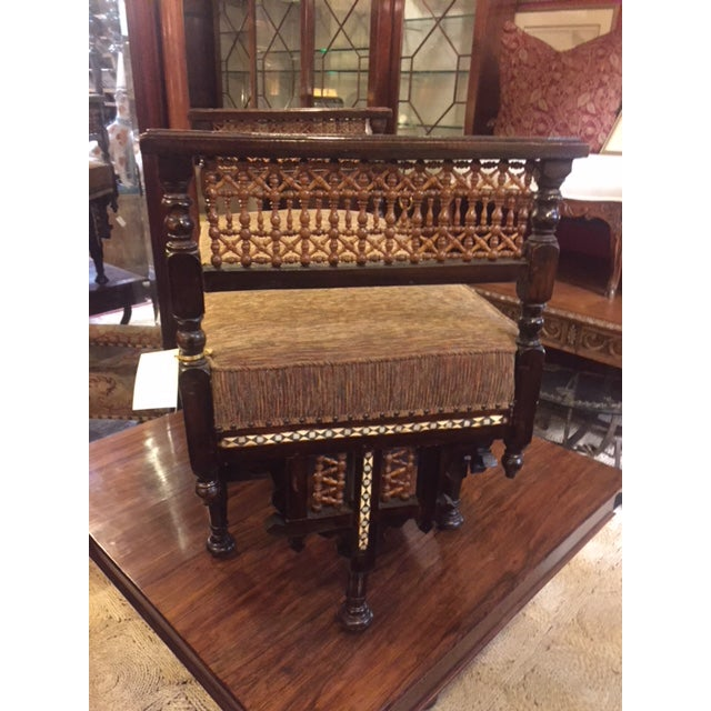 English Vintage Moroccan Inlaid Bone Handled Bench For Sale - Image 3 of 11