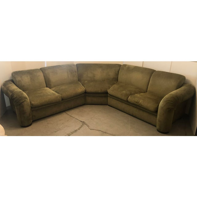 Gorgeous design for this 3 piece sectional sofa from 80's. Very comfortable and catching lines. Still retains original...