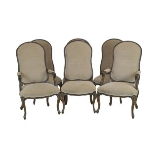 Italmond Custom Upholstered French Louis XV Style Set of 6 Dining Chairs For Sale