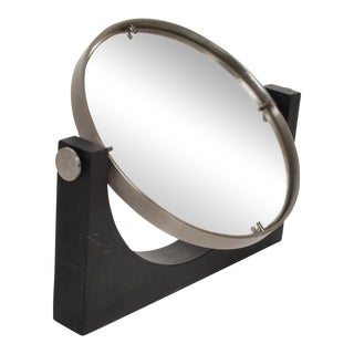Mid Century Modern Italian Table Mirror Black Marble For Sale