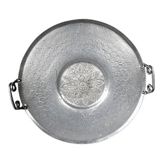 Vintage 1950's Hand Forged Round Aluminum Tray For Sale