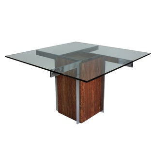 A Marble & Chrome Modernist Dining Table For Sale