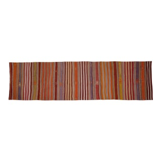 Hall Stair Rug, Tribal Flat Woven Turkish Striped Kilim Runner 3'5'' X 13'2'' For Sale