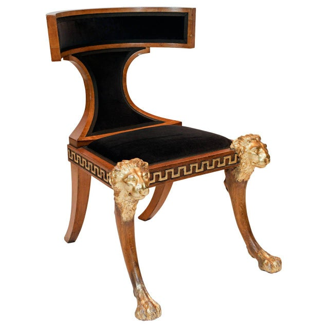 Wood A North European Beech and Parcel-Gilt Klismos Chair with Greek Key Bordered Seat Frame For Sale - Image 7 of 7
