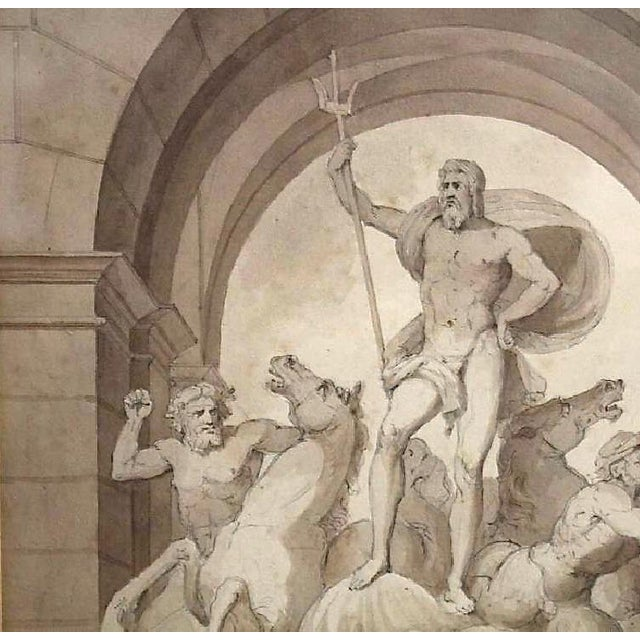 1838 Palazzo Torlonia, Rome Grisaille Neptune Fountain Watercolor Painting For Sale - Image 4 of 11