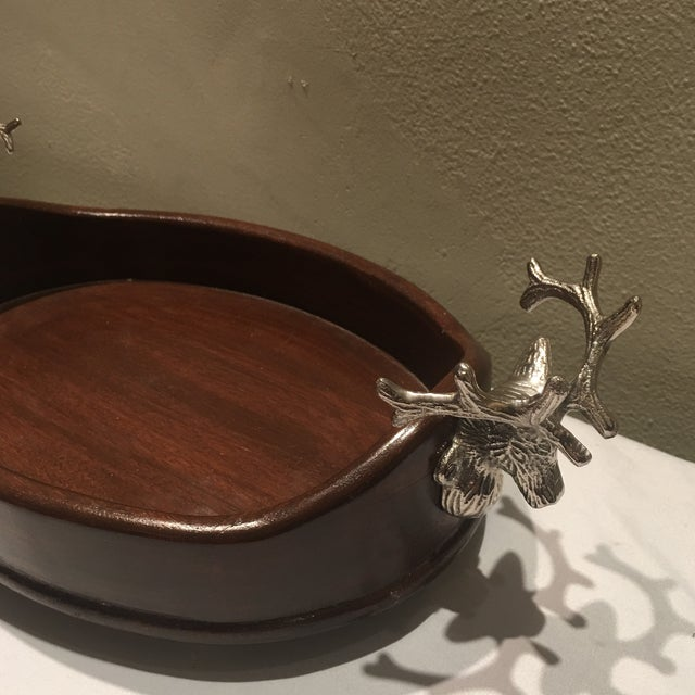 Lodge Vintage Holiday Wooden Tray With Pewter Stags For Sale - Image 3 of 6