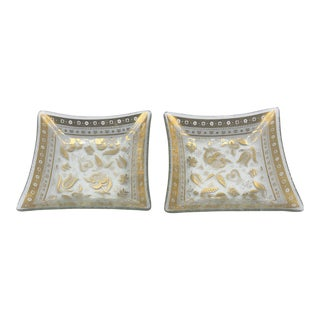 Georges Briard Square Glass Plates - Set of 2 For Sale