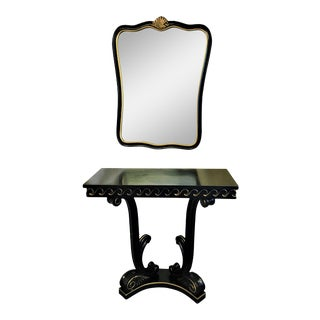 Vintage Empire Style Petite Wooden Console & Coordinating Mirror For Sale