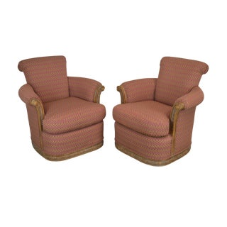 Jeffco Pair Custom Upholstered Club Chairs For Sale