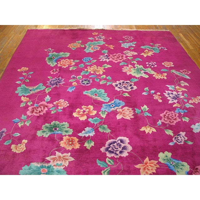 1930s Antique Chinese Art Deco Rug-9′ × 11′3″ For Sale - Image 4 of 6