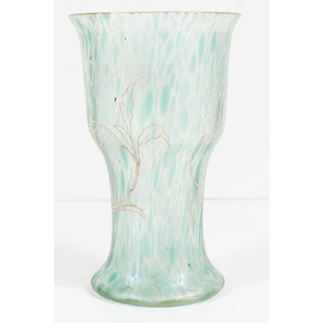 Gold Art Nouveau Austrian Art Glass Vase in Green Iridescent and Gold Relief Vine For Sale - Image 8 of 10
