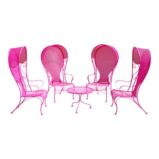 Vintage Woodard Wrought Iron Hollywood Regency Porter Chairs & Table - Pink - Set of 5 For Sale