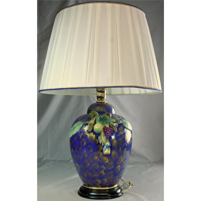 Blue Italian Majolica Table Lamp Hand-Painted Blue For Sale - Image 8 of 8