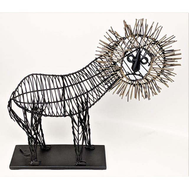 Animal Skin Vintage Lion Wire Sculpture For Sale - Image 7 of 11
