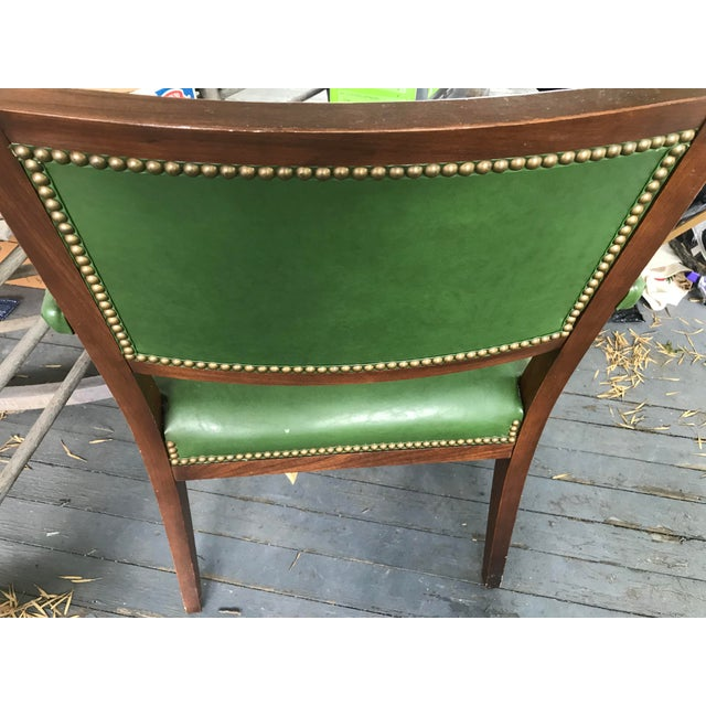 1960's Mid-Century Modern Paoli Green Leather Studded Chairs - Set of 3 For Sale - Image 9 of 12