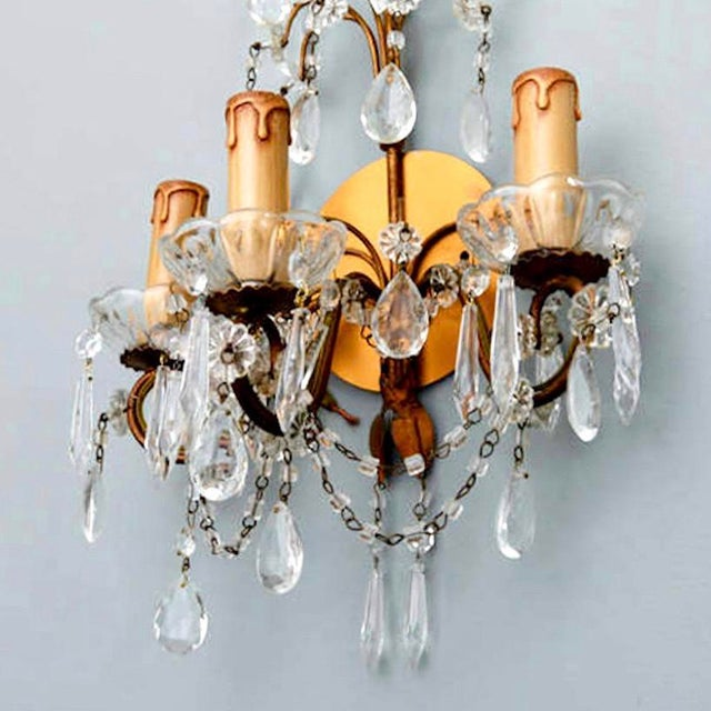 Pair of French Three-Arm Crystal and Brass Wall Sconces - Image 6 of 6