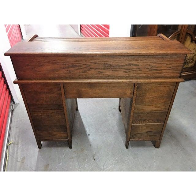 Antique Oak Roll-Top Desk - Image 9 of 9