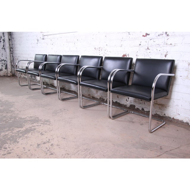 Mies Van Der Rohe for Knoll Black Leather and Chrome Brno Chairs - Set of 6 For Sale - Image 13 of 13