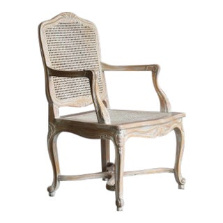 1990s Vintage French Provincial Cane Arm Chair For Sale