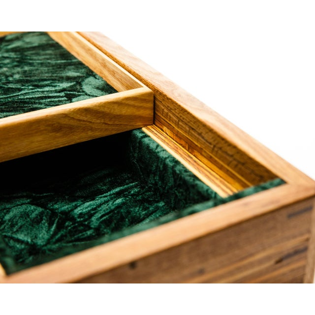 Scandinavian Lawrence & Scott Reclaimed Wood One-Of-A-Kind Lined Jewelry Box For Sale - Image 4 of 12