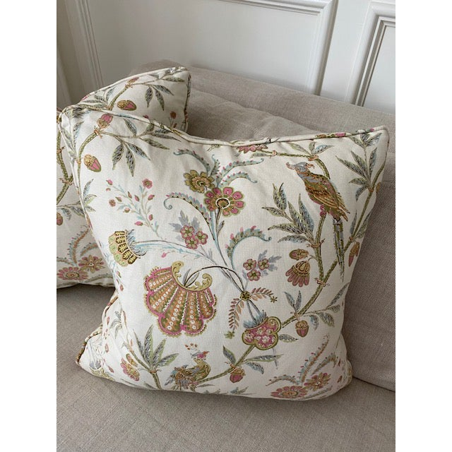 "A Pair of Beautiful Custom Pillows in an Aerin textile. These are brand new and measure 22""sq with a down filling."