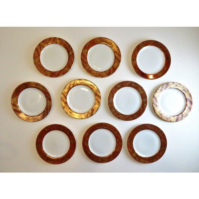 Orange Vintage Imari Vermilion Red & Gold Serving Plates - Set of 10 For Sale - Image 8 of 11