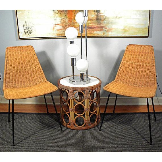 Vintage Mid-Century Modern Wicker Chair With Iron Legs - Pair - Image 6 of 8
