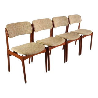 Vintage Mid Century Teak Dining Chairs by Erik Buch for o.d. Mobler- Set of 4 For Sale