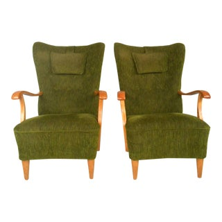 Mid-Century Modern High Back Lounge Chairs - A Pair