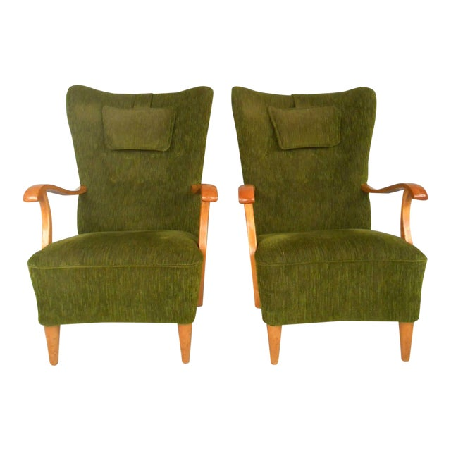 Mid-Century Modern High Back Lounge Chairs - A Pair For Sale