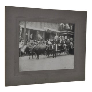 Great Antique Photo Oxen Cart w/ Old Timers and American Flags c.1910 For Sale