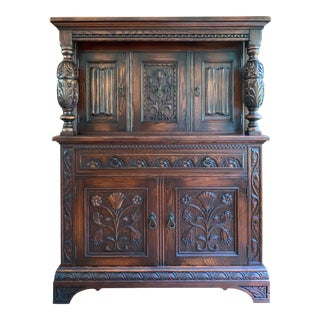 Antique Jacobean Revival Cupboard, Circa 1900's For Sale