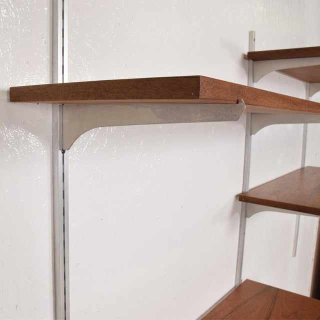 1960s Mid-Century Modern Teak & Aluminum Wall Unit Shelving For Sale - Image 5 of 10