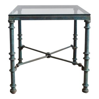 1980's Vintage Oxidized Metal Side Table For Sale