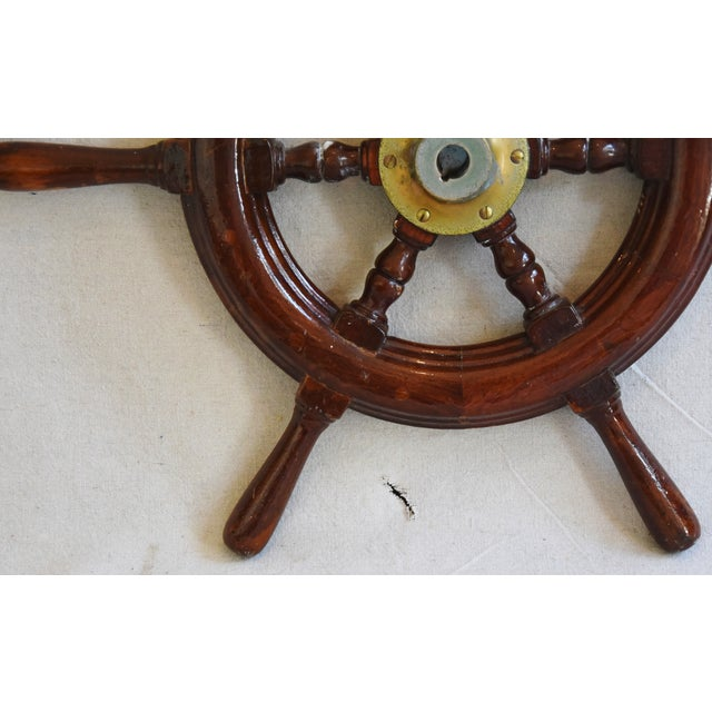 1950s Nautical Wood & Brass Ship's Wheel - Image 5 of 9