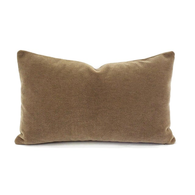 "Maharam Mohair Supreme in Stonehenge Lumbar Pillow Cover - 12"" X 20"" Solid Stone Brown Mohair Velvet Rectangle Cushion Case For Sale In Portland, OR - Image 6 of 6"