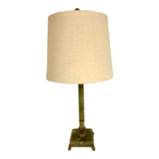 1940s Green Onyx Table Lamp For Sale