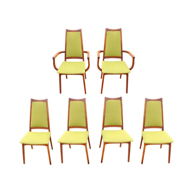 1960 S Danish Modern Adrian Pearsall Style Teak Avocado Green Tweed Dining Chairs Set Of 6 Chairish