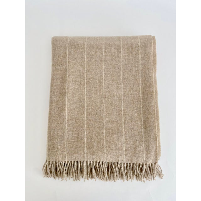 English English Neutral Lambswool Throw Blanket For Sale - Image 3 of 6