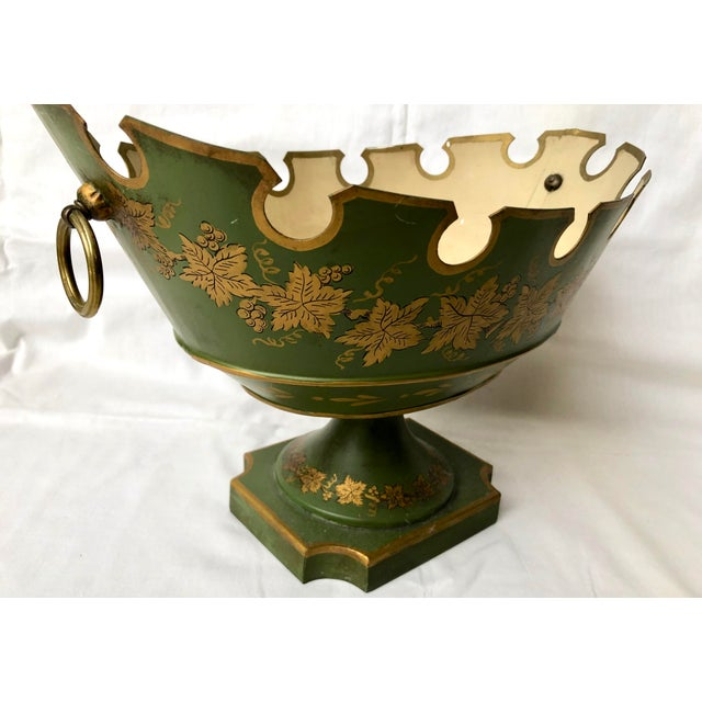 French Green & Gold Tole Neoclassical Footed Monteith/Rafraichissoire/Chillers, Hp For Sale - Image 4 of 13