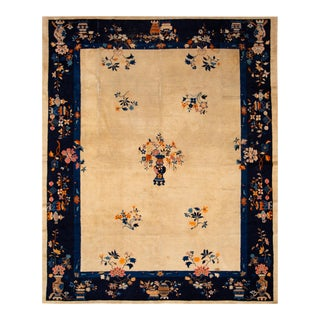Early 20th Century Antique Peking Chinese Wool Rug For Sale