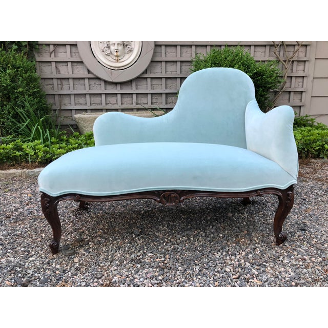 1970s Vintage Tiffany Blue Curvy Settee For Sale - Image 9 of 10