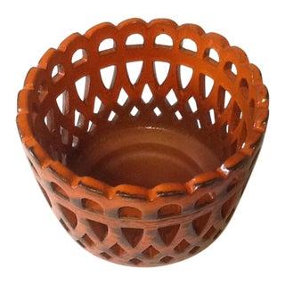 Vintage Handarbeit German Reticulated Orange Clay Pot For Sale