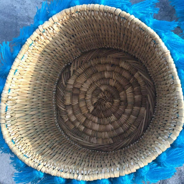 Islamic Moroccan Turquoise Tassel Large Basket For Sale - Image 3 of 4