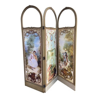 Antique Silk and Cotton Wooden French Room Divider (Paravent) For Sale