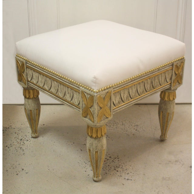 "Swedish Gustavian antique reproduction stool. Finish: Textured Grey with Italian gold leaf. 19"" high to be used at a..."