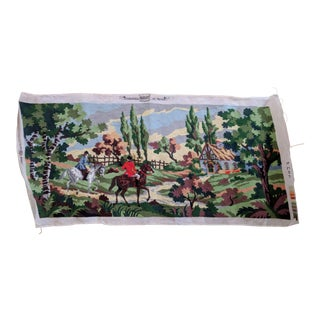 Margot De Paris Riders in Countryside Finished Needlepoint Picture For Sale