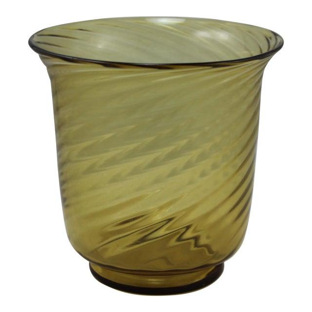 Stunning Art Deco Steuben Glassworks Amber Colored Swirl Vase For Sale